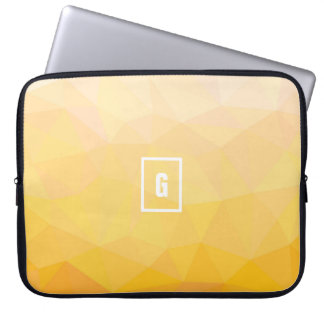 Yellow hue summer geometric initial laptop sleeve