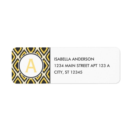 Yellow Ikat Monogram Return Address Label