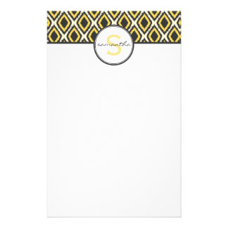 Yellow Ikat Monogram Stationery Design