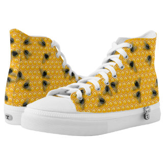 Yellow illustrated bees on a yellow honeycomb hive high tops