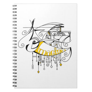 Yellow Imagine In Lines and Dangles Spiral Note Book