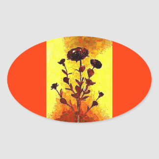 Yellow Impressionist Medieval Flower Art Oval Sticker