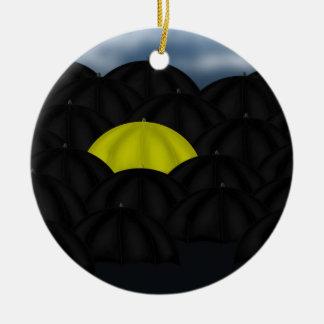 Yellow in a Black Sea of Umbrellas Round Ceramic Ornament