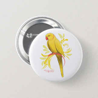 Yellow Indian Ringneck Parrot 2 Inch Round Button