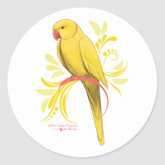 Yellow Indian Ringneck Parrot Classic Round Sticker