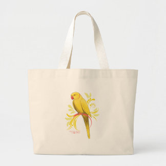Yellow Indian Ringneck Parrot Large Tote Bag