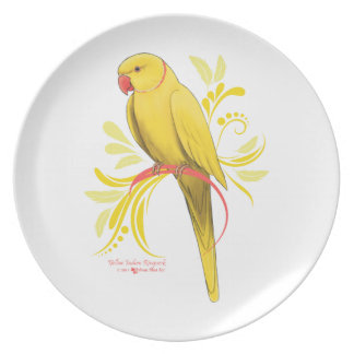 Yellow Indian Ringneck Parrot Plate