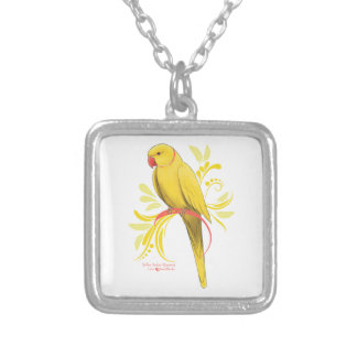 Yellow Indian Ringneck Parrot Silver Plated Necklace