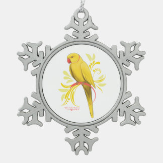 Yellow Indian Ringneck Parrot Snowflake Pewter Christmas Ornament