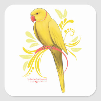 Yellow Indian Ringneck Parrot Square Sticker