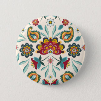 Yellow Indonesian floral and vines Batik pattern 2 Inch Round Button