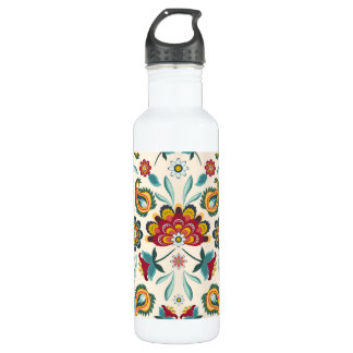 Yellow Indonesian floral and vines Batik pattern 710 Ml Water Bottle