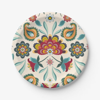 Yellow Indonesian floral and vines Batik pattern 7 Inch Paper Plate
