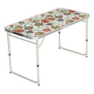 Yellow Indonesian floral and vines Batik pattern Beer Pong Table