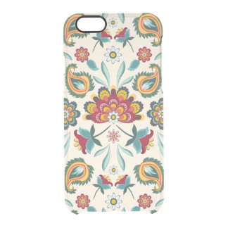 Yellow Indonesian floral and vines Batik pattern Clear iPhone 6/6S Case