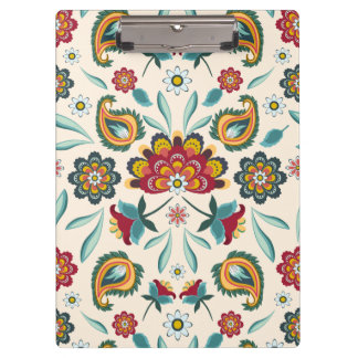 Yellow Indonesian floral and vines Batik pattern Clipboard