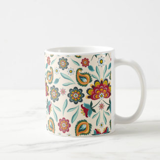 Yellow Indonesian floral and vines Batik pattern Coffee Mug
