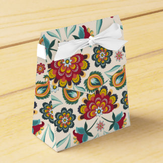 Yellow Indonesian floral and vines Batik pattern Favor Box