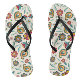 Yellow Indonesian floral and vines Batik pattern Flip Flops