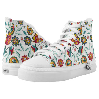 Yellow Indonesian floral and vines Batik pattern High Tops