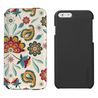 Yellow Indonesian floral and vines Batik pattern Incipio Watson™ iPhone 6 Wallet Case