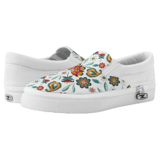 Yellow Indonesian floral and vines Batik pattern Slip-On Sneakers