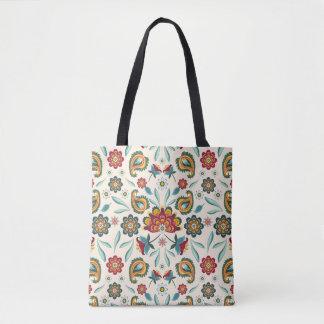 Yellow Indonesian floral and vines Batik pattern Tote Bag
