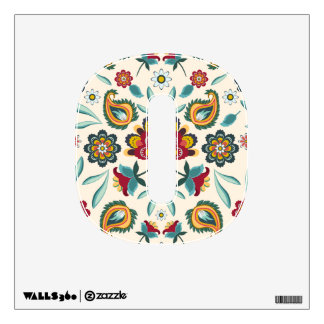Yellow Indonesian floral and vines Batik pattern Wall Decal