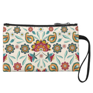 Yellow Indonesian floral and vines Batik pattern Wristlet