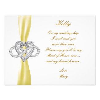 Yellow Infinity Heart Maid Of Honor Card