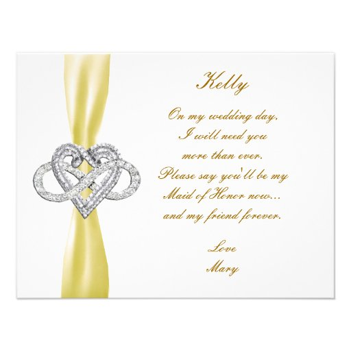 Yellow Infinity Heart Maid Of Honor Card