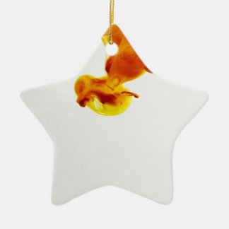 Yellow Ink Drop Macro Photography Ceramic Star Ornament