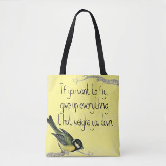 Yellow Inspirational tote bag Pretty song bird