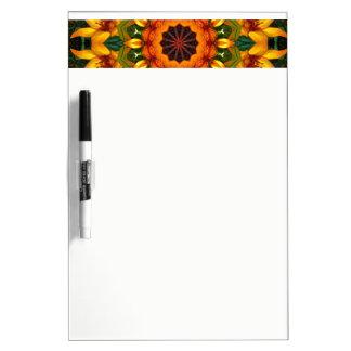 Yellow Iris, Floral mandala-style 02.3 Dry Erase Board