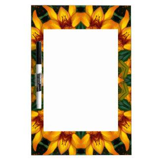 Yellow Iris, Floral mandala-style Dry Erase Board