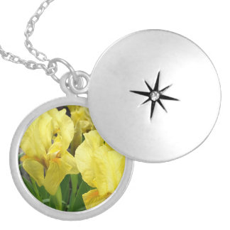 Yellow Iris flowers Locket Necklace