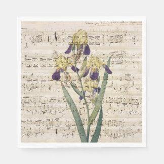 yellow iris music disposable napkins