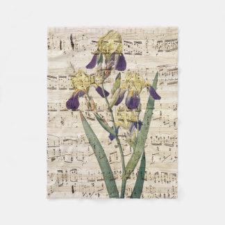 yellow iris music fleece blanket