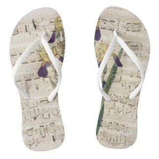 yellow iris music flip flops