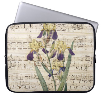 yellow iris music laptop sleeve