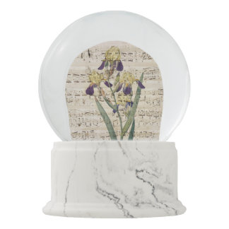 yellow iris music snow globe