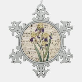 yellow iris music snowflake pewter christmas ornament