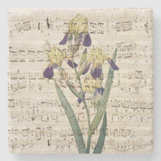 yellow iris music stone coaster