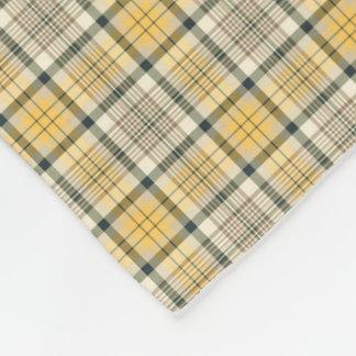 Yellow, Ivory and Black Plaid Fleece Blanket