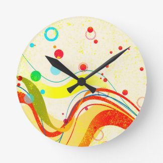 Yellow Jazz Poster Round Clock
