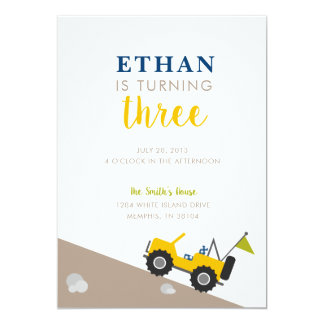 Yellow Jeep Birthday Invitation
