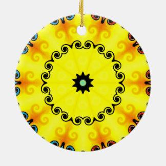 Yellow Kaleidoscope Christmas Ornament