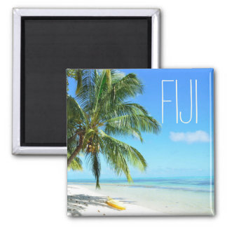 Yellow kayak on a Fiji beach square text magnet