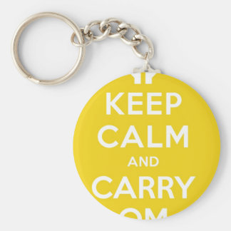 Yellow Keep Calm And Carry Om Basic Round Button Keychain