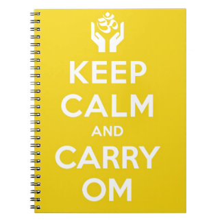 Yellow Keep Calm And Carry Om Spiral Notebooks